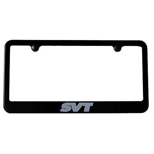 Ford SVT Lightning & SVT Raptor License Plate Frame - Satin Black - Engraved Grey Logo