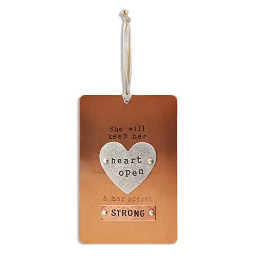 DEMDACO Heart Open Copper Tone 4 x 6 Hammered Metal Pinboard Sign Plaque