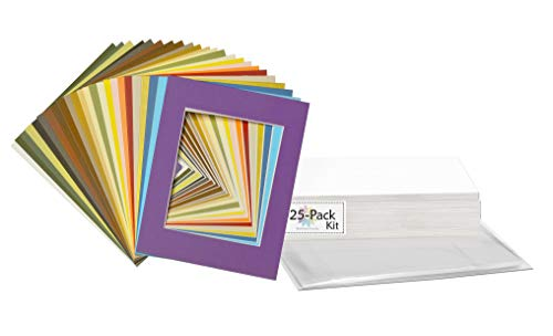 Mat Board Center, 11x14 Picture Mat Sets for 8x10 Photo. Includes a Pack of 25 White Core Bevel Pre-Cut White Core Matte & 25 Backing Board & 25 Clear Bags (Mix)