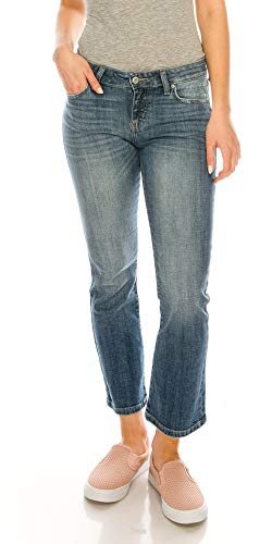 Eunina Jeans by J Mind Roll Up Relaxed Stretch Skinny Jeans in Cropped Boot Cut Medium Blue Wash (1, 9721)