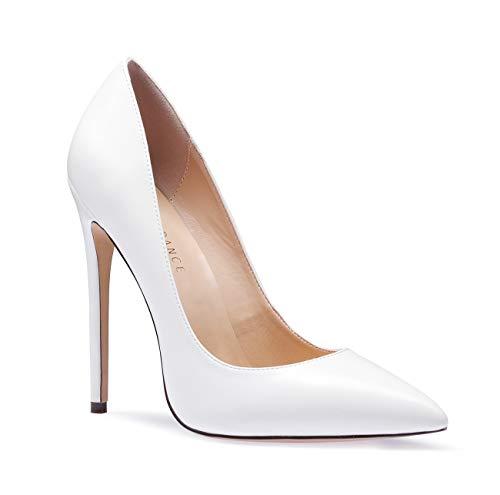 (SUNETEDANCE Women's Slip-on Pumps High Heels Pointy Toe Sexy Elegant Stiletto Heels 12CM Heel Shoes Pu White Pump 9.5 M US)