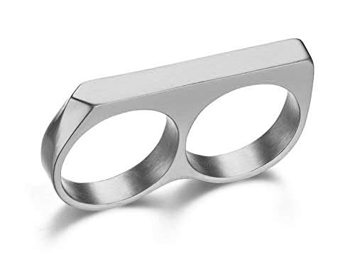 (LMXXV Fashion Jewelry Stainless Steel Double Finger Two Finger Ring Band for Men Women,Size 11)