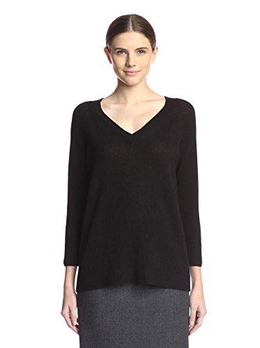 Magaschoni Women's V-Neck Sweater, Black, L