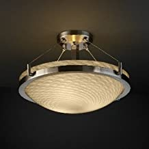 "Justice Design FSN-9681-35-OPAL-MBLK 18"" Round Semi-Flush Bowl w/ Ring, Glass Options: OPAL: Opal Glass Shade, Choose Finish: Matte Black Finish, Choose Lamping Option: Standard Lamping"