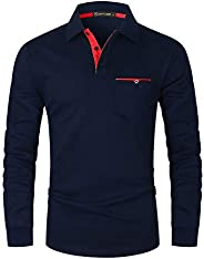 GHYUGR Men's Long Sleeve Polo Shirts Contrasting Colors Design Golf T-Shirt Casual Polos Homme Manche Lo