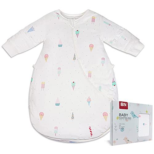 BN Lightweight Toddler Sleep Sack Cotton Baby Sleeping Bag with 2-Way Zipper Wearable Blanket Baby 12-18 Months Long Sleeve (M, Ice Cream, 1.0Tog)