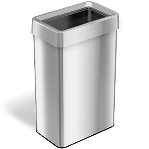 iTouchless 21 Gallon Dual-Deodorizer Open Top Trash Can Rectangular Shape, Commercial Grade Stainless Steel, 80 Liter Recycle Bin, Silver, - End Open Natural Vent