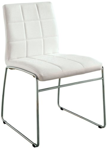 Furniture of America Scout Leatherette Dining Chair, White, Set of (Upholstered Sleigh Back Chairs)