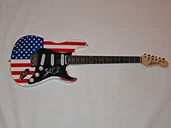 robin zander signed usa flag electric guitar cheap trick proof jsa coa at amazon 39 s entertainment. Black Bedroom Furniture Sets. Home Design Ideas