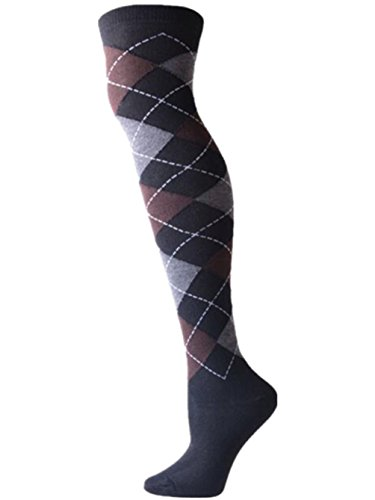 Over The Knee Argyle Socks - Q&Y Women's Casual Colorful Cool Fun Over Knee High Argyle Socks Brown
