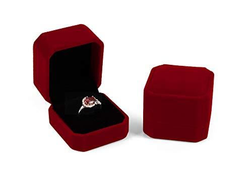 (duoduodesign Rose Red Velvet Ring Box (Rose Red and Black))