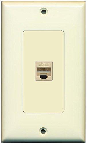 RiteAV Decorative 1 Gang 1 Port Cat5e Wall Plate - Light Almond/Light Almond