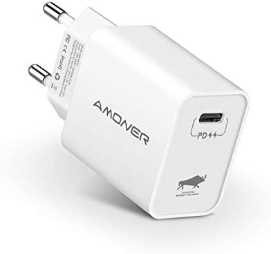 Amoner Cargador USB C 3.0 Echufe USB Tipo C 18W Carga de Red QC 4.0/QC 3.0 para iPad Pro 2018, iPhone 11, 11 Pro MAX, XR, X, XS, 8, 8 Plus, Xiaomi ...