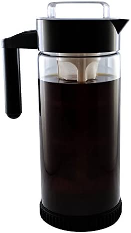 3 in 1 Cold Brew Iced Coffee Maker with Non-Slip Base Iced Tea Maker Fruit Infusion Pitcher A FakeSpot Rating Premium Borosilicate Glass BPA Free Dishwasher Safe 44oz BONUS INFUSER
