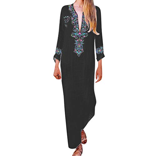 Masun Women's Maxi Dresses Sexy Deep V-Neck Long Sleeve Vintage Bohemian Embroidery Print Beach Casual Long Dress Black