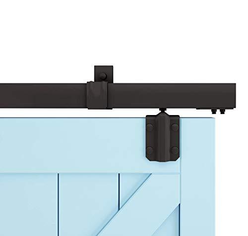 M0083-5ft Box Rail Hardware Heavy Duty Steel Sliding Barn Door Track 5FT kit, Black