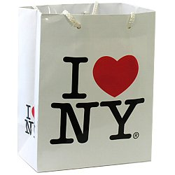 Glossy I Love NY Gift Bag Small I Heart NYC Event Gift Bag for Souvenirs and I Love NY Theme Parties (3x5 inches)