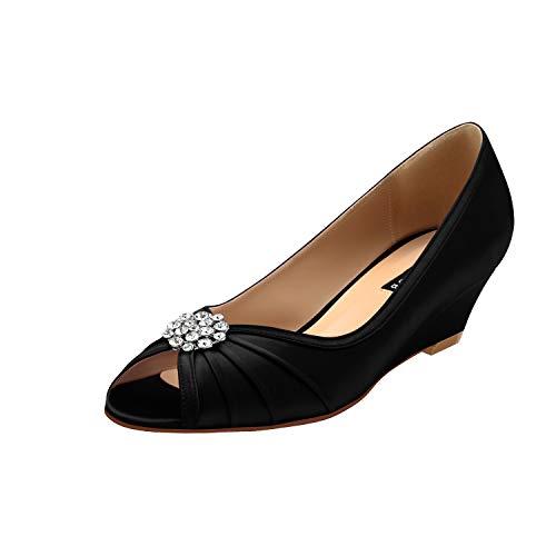ERIJUNOR E2019A Women Comfortable Low Heel Wedges Peep Toe Wedding Shoes Black Size 9