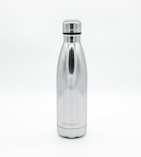 Emporia - Botella de agua térmica de acero inoxidable - Cuenta con doble pared de aislamiento al aspiradora que mantiene tus...