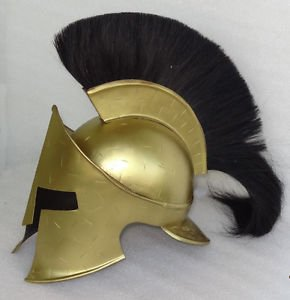 Junglevibes 300 Movie Spartan King Leonidas Steel Helmet With Black Plume And Leather Cap by Junglevibes