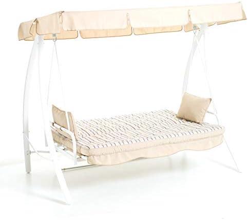 Balancín Marrakech de 3 plazas, estructura de metal, color blanco, función cama: Amazon.es: Hogar