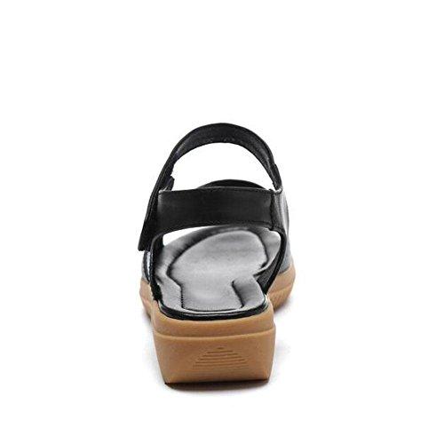 QL@YC Frauen Flache Sandalen Sommer Leder Weichen Rock GroßE GrößE Non Slip Kleid 2017 Damenschuhe , black , 38
