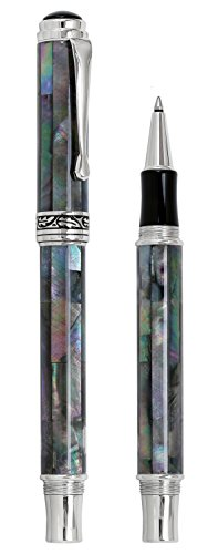 Xezo Maestro Natural Iridescent Black Mother of Pearl Platinum Plated Roller Pen. No Two Pens Alike by Xezo (Image #1)'