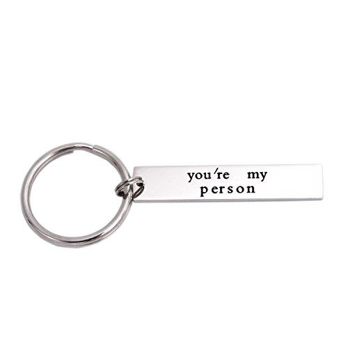 You're My Person Stainless Steel Rectangle Keychain Keyring Best Friend Boyfriend Girlfriend (Person-Keychain-01)