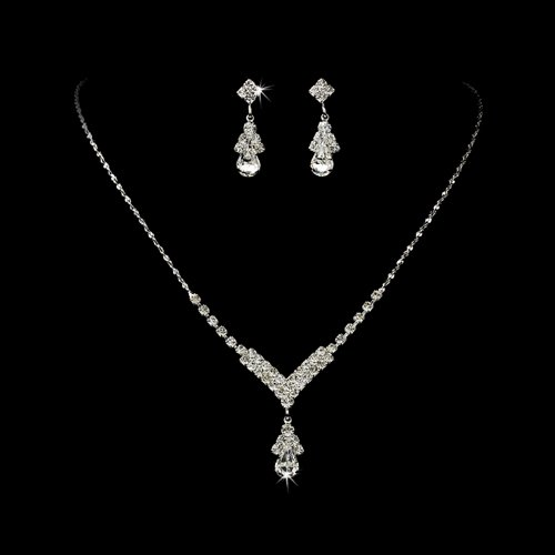 Amazon accessoriesforever bridal wedding prom jewelry set amazon accessoriesforever bridal wedding prom jewelry set crystal rhinestone necklace v teardrop silver clear jewelry junglespirit Image collections