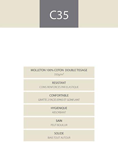Blanc des Vosges Molleton 350gr/m² Alèze Housse, Coton, Blanc, 180x200 cm