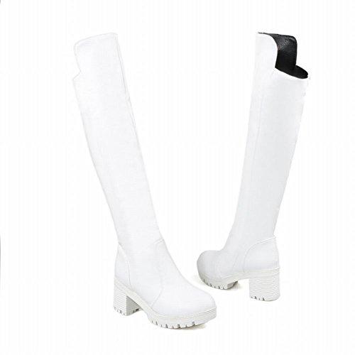 langschaft Weiß Stiefel Shoes heels chunky Damen Plateau Mee Zw1IRx