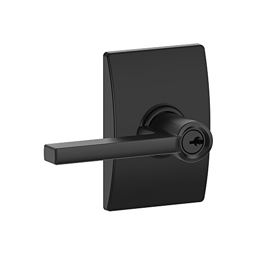 Decorative Door Trim (Schlage F51A LAT 622 CEN Latitude Lever with Century Trim Keyed Entry Lock, Matte Black)