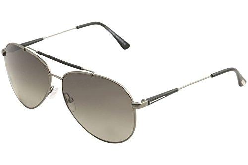 Tom Ford Rick Aviator Sunglasses in Shiny Light Nickeltin Polarised FT0378 10D - Pads Tom Glasses Ford Nose