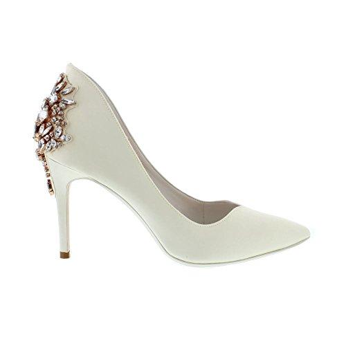 Ted Baker Women's Finoula Satin Embellished Pointed Toe High Heel Ivory Ivory tdSNQ6kqq