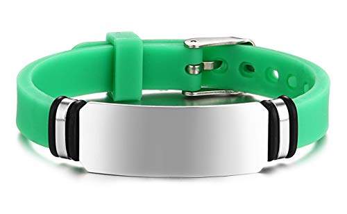 JF.JEWELRY Personalized Custom Engraving Stainless Steel Silicone Band Bracelet for Kids Adjustable Green