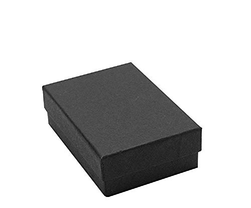 """25 Pack Cotton Filled Black Matte Color Jewelry Gift and Retail Boxes Jewelry Pendant Earring Gift Collectible Packaging Boxes 2 1/8"""" x 1 5/8"""" x 3/4"""" Inches Size #11-by RJ Displays"""
