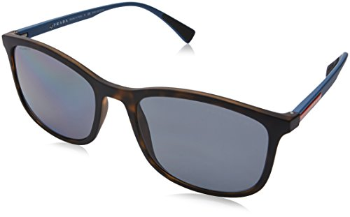 Prada Linea Rossa Men's 0PS 01TS Havana Rubber/Polarized Grey One Size - Prada Rectangle Sunglasses