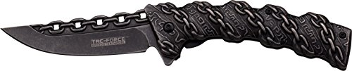 (TAC Force TF-859 Spring Assist Folding Knife, Black Blade, Black Handle, 4.75-Inch Closed)