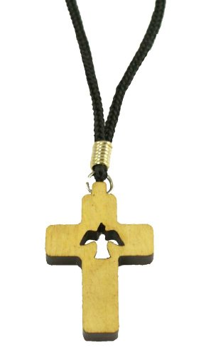 Wood Cross Pendant Necklace by Catholica Shop | with Holy Spirit Dove Cutout | Cross Pendant | Cross Size : 1.5 inches | Lot of 6