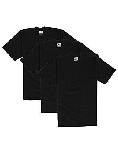 Pro Club Men's Heavyweight Cotton Short Sleeve Crew Neck T-Shirt, X-Large, Black (3 Pack)