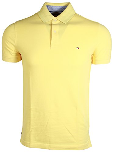 (Tommy Hilfiger Mens Stretch Slim Fit Pique (Large, Pale Yellow))