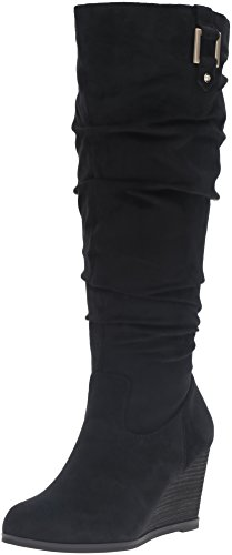 Dr. Scholl's Shoes Women's Poe Wide Calf Slouch Boot, Black Microsuede, 7.5 M US