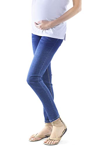 WuhouPro Womens Super Stretch Adjustable Maternity Jeans,Full Length-d.blue,X-Large