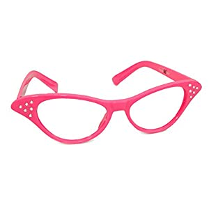 Hip Hop 50s Shop Womens Cat Eye Rhinestone Glasses, Hot Pink