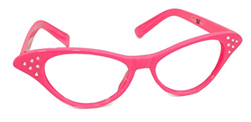 Hip Hop 50s Shop Womens Cat Eye Rhinestone Glasses, Hot - Glasses Pink Ladies
