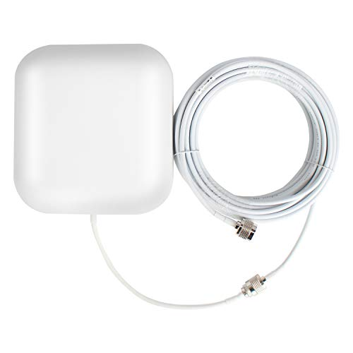 HiBoost Wall Mount Panel Antenna Kit for Signal Booster, Wide Band 698-2700 MHz, Compatible with All US Carriers 2G/3G/4G LTE, with 50FT Coaxial Cable, Best to Broadcast Signal of Cell Booster