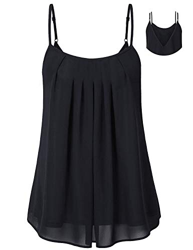 Cyanstyle Chiffon Tank Tops for Women Woman Sleeveless Spaghetti Straps Pleat Lining Layered Camisole Summer Tunic Blouse A-Line Scalloped Pregnancy Comfortable Cool Cloth Black L ()