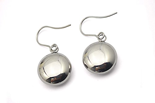 Ball Fish Hook Earrings (COUYA Polished Stainless Steel Hollow Flat Round Ball Dangle Drop Fishhook Earrings)