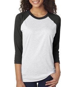 Next Level Apparel 6051 Unisex Tri-Blend 3 By 4 Sleeve Raglan - Vintage Black & Heather White, 2XL