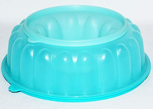Tupperware Jello Mold Round Fluted 6 Cup Jel-Ring Tropical Blue